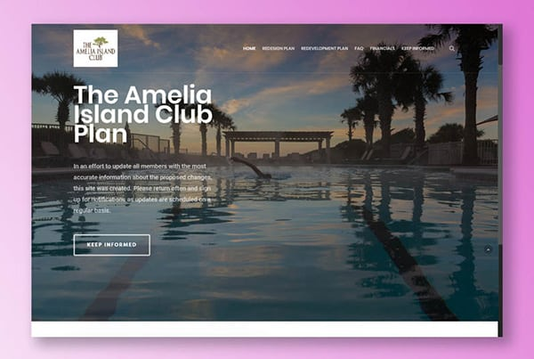 Creation of a template and website for Amelia Island Club