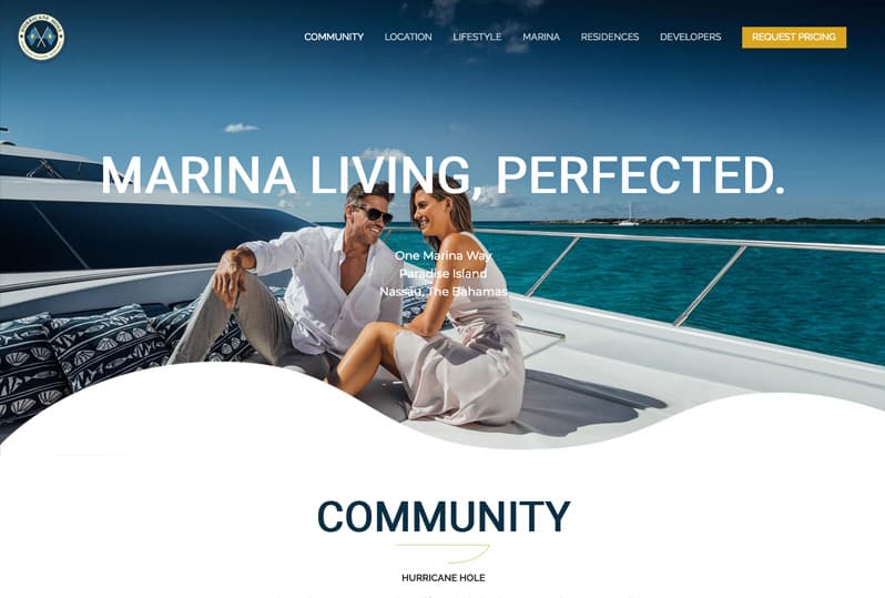 One Page Website Creation of a Luxury Marina in the Bahamas