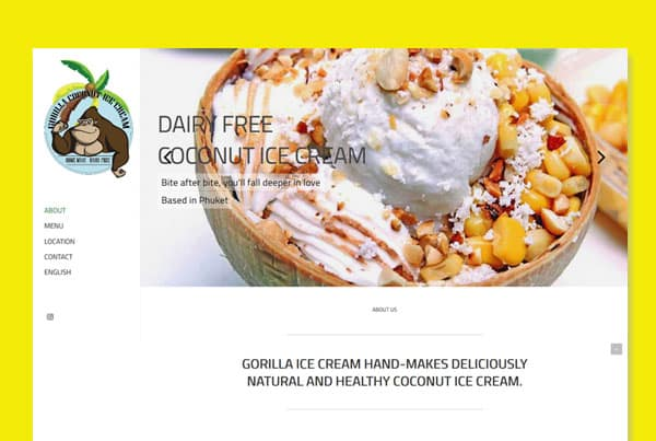 Creation of the Gorilla Ice Cream logo & One Page website, 100% dairy-free coconut ice cream.